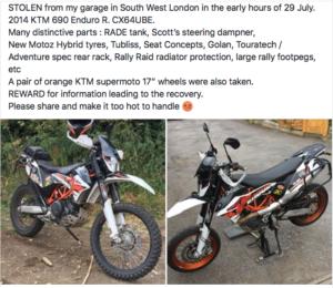 Stolen Motorcycles & Scooters in Merton